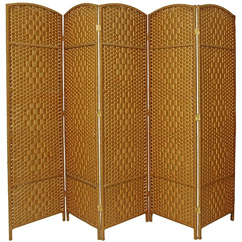 Oriental Furniture 6 ft. Tall Diamond Weave Fiber Room Divider - Light Beige - 5 Panel by ORIENTAL FURNITURE