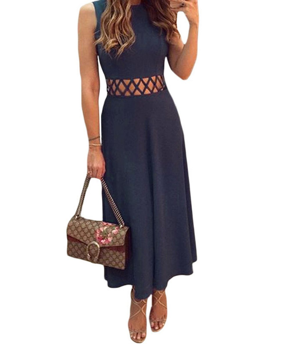 BYY Navy Blue Caged Waist Fit and Flare Maxi Dress(Size,S) by BYY