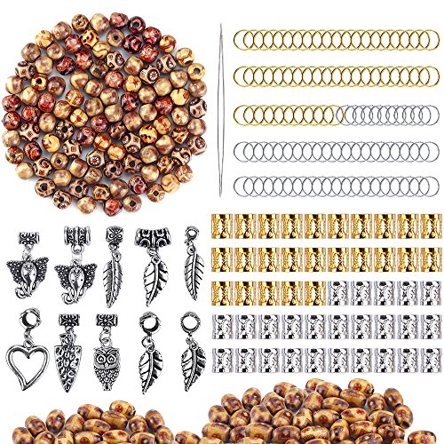 OPount 310 Pieces Dreadlocks Beads DIY Hair Braid Accessories with Natural Painted Wood Beads, Braid Rings Hair Hoops, Dreadlocks Beads and Hair Clips for Hair (310 Natural)