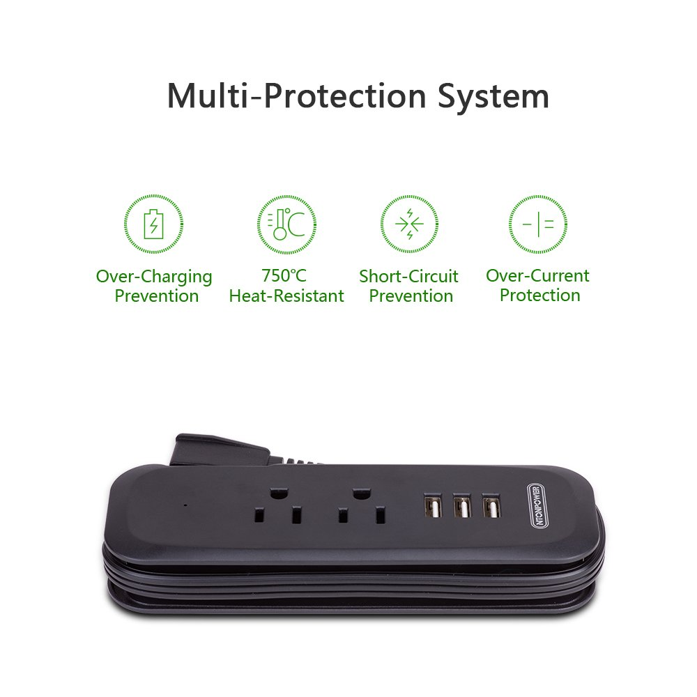 NTONPOWER 3-Port USB Power Strip with 2 Outlets Wrap Winder Design Mini Travel Charger with Right Angle Flat Plug and 15 inches Short Extension Cord for Nightstand Conference Center Library - Black by NTONPOWER (Image #5)