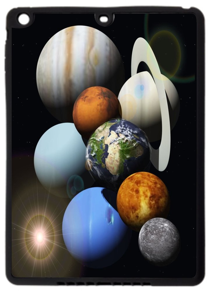 Rikki Knight? Solar System Planets Design Black Cover Case for iPad Air (1st Version Ipad Air) - TPU Hard Rubber Case with Durable Front Bumper Protection