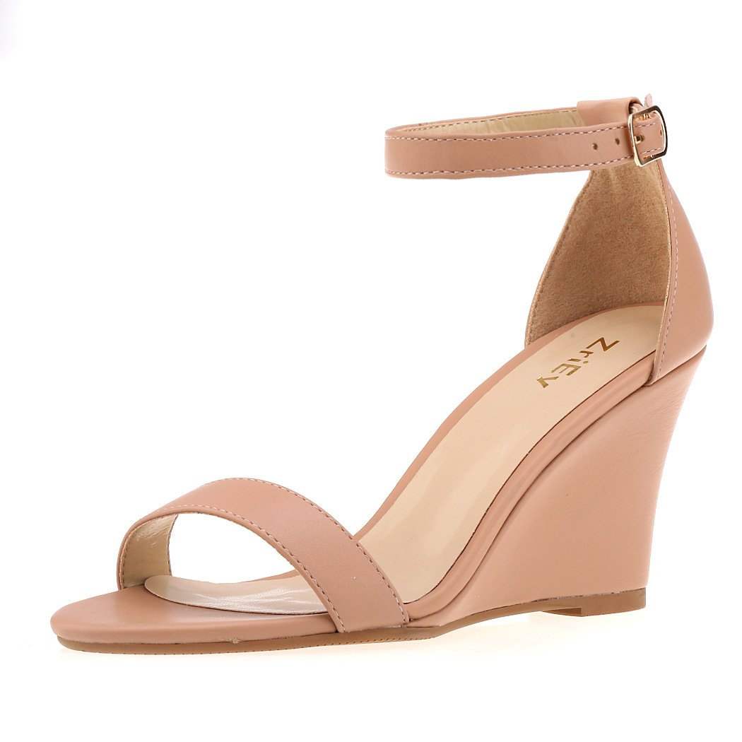 ZriEy Women's Ankle Strap Buckle Mid Wedge Platform Heeled Sandals 8CM Summer Dress Sandals Pump Shoes Nude Size 8.5