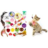 Mumoo Bear Kitten Chew Toys Teaser Wand, Multi-Colour, 20piece