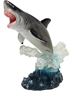 Leaping Great White Shark sculpture figure home decor collectible