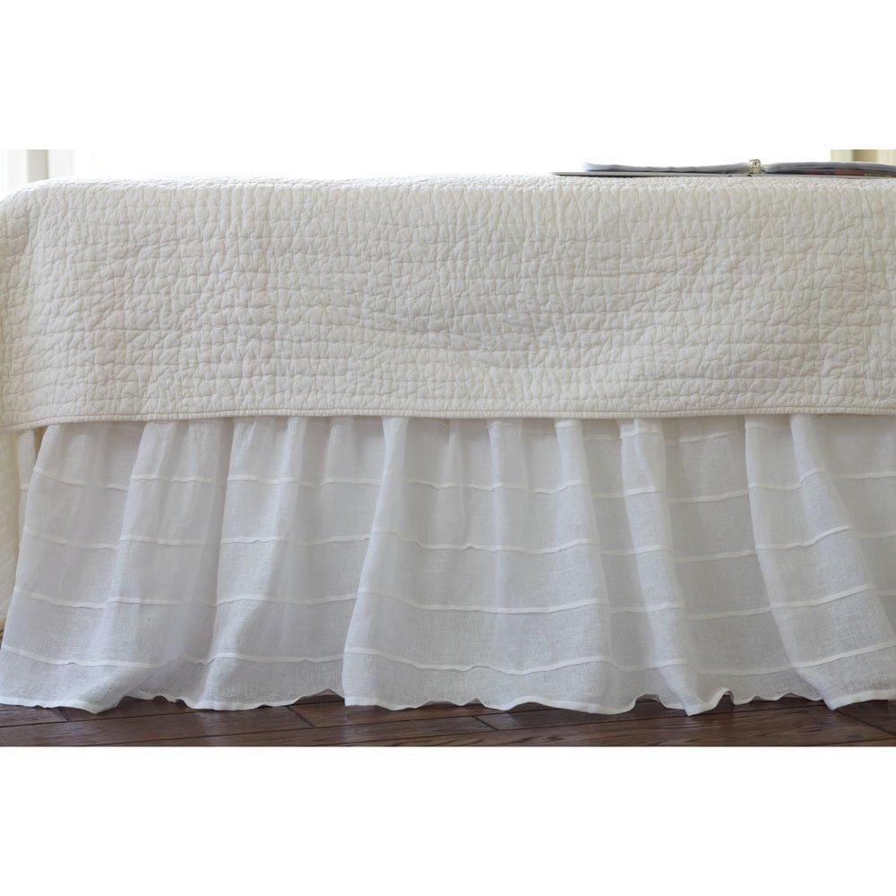 Tuckedリネンベッドスカートサイズ:ツイン、色:ホワイト B00FVVRFW4