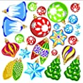 Christmas Ornaments Wall Decals Removable and Reusable Holiday Wall Stickers