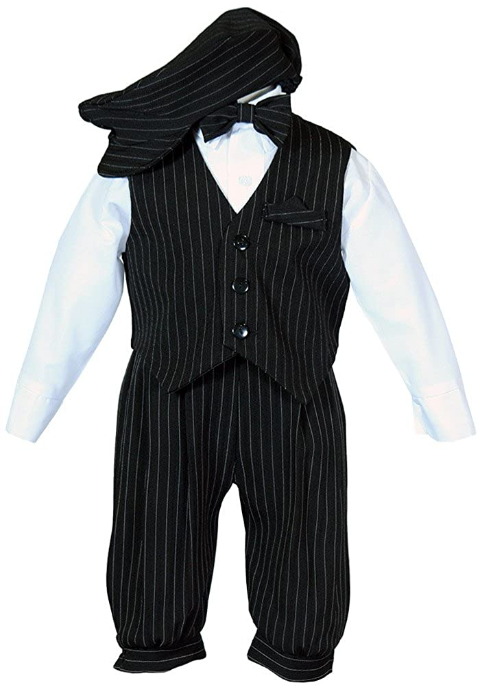 Boys Toddler Knicker Set With Vest and Hat - Vintage Black/White Stripe