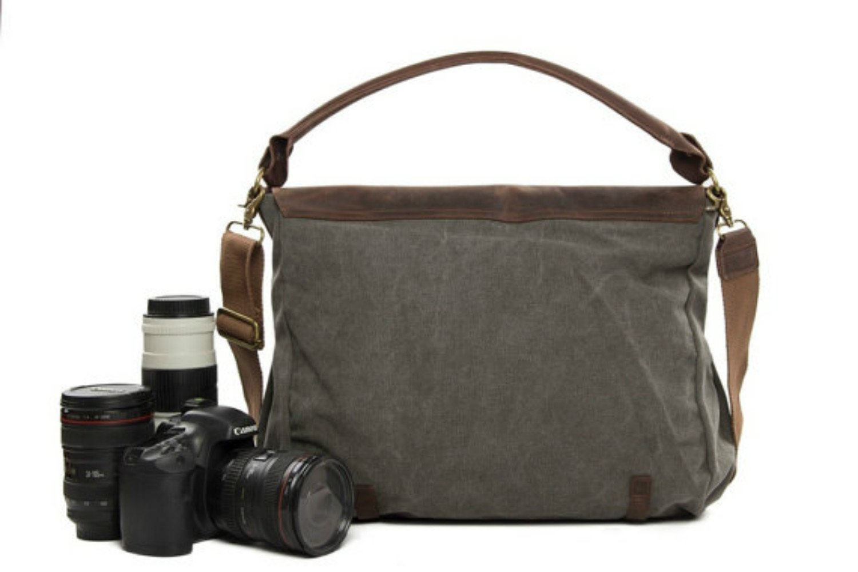 Khaki ,Brown Rnalley Large Capacity Waterproof Canvas Backpack Travel Bag Camera Bag Camera Set Digital Camera and Accessories with Shockproof Storage