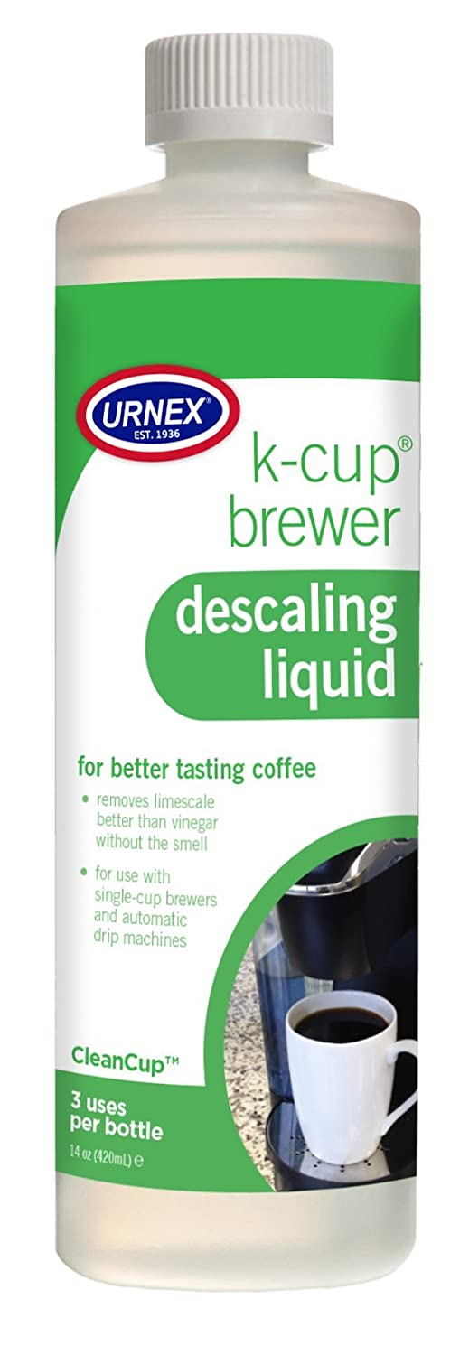 Urnex K-Cup Descaling Solution (3 Uses Per Bottle) - 14 Ounce - CleanCup Descaling and Cleaning Solution Use With All Keurig K Cup and Drip Coffee Machine