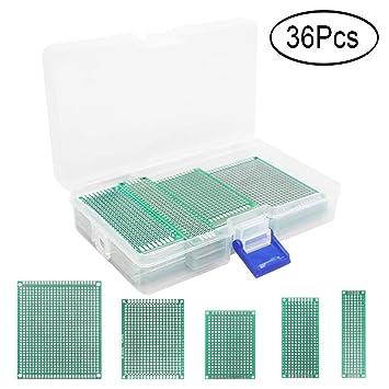 36 Pcs Double Sided PCB Board Prototype Kit 5 Size Universal
