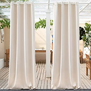 Anjee Indoor/Outdoor Curtains - Solid Outdoor Shades for Porch Gazebo Privacy Thermal Insulated for Patio with Grommet Top Blackout Drapes, 52x84, Beige, 1 Piece