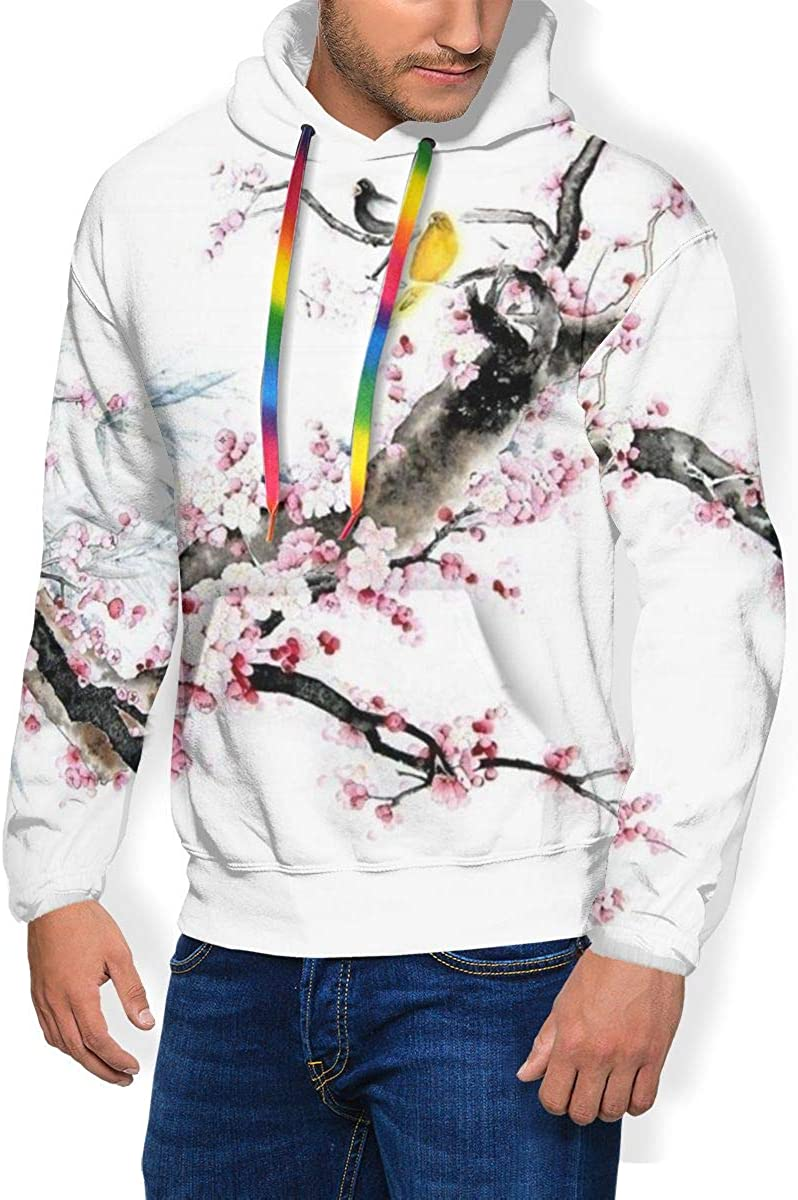 Vintage Pink Plum Blossom and Birds Mens Sweatshirts Pockets Pullover Hoodie Fleece Full-Zip Jacket Casual Unisex