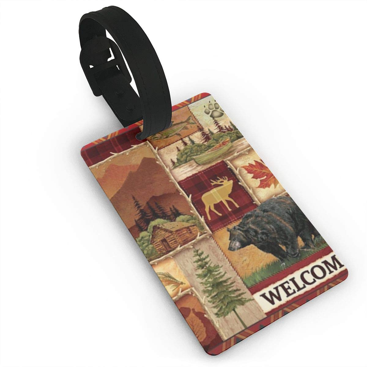 Rustic Lodge Bear Luggage Tags Bag Travel Labels For Baggage Suitcase