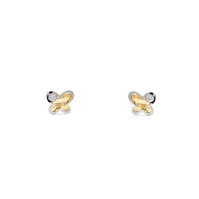 Pendientes Oro Bebe o Niña mariposa bicolor con circon (9kts)https://amzn.to/2ZaFZ0q