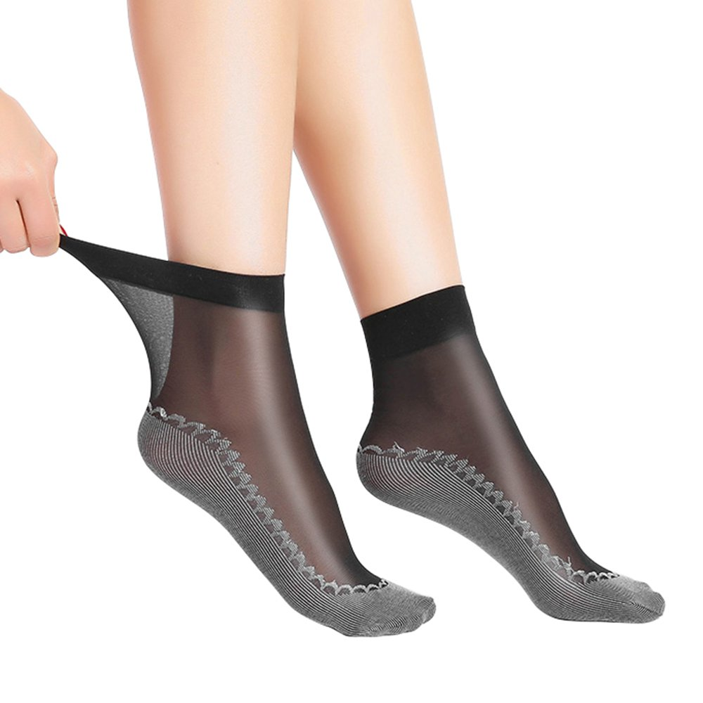Anliceform Women Fashion Sexy Silky Socks, Anti-Slip Cotton Sole Sheer Ankle High Tights Hosiery Socks