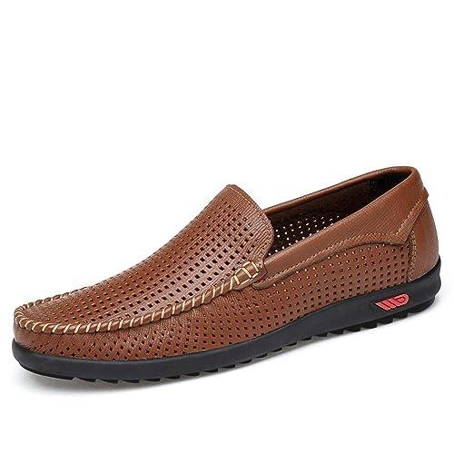 los Zapatos de Cuero Soft Driving Penny Loafers Bare Vamp Suela de Goma Mocasines de Barco