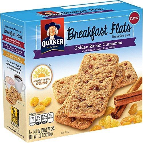 Quaker, Breakfast Flats, 5 Count (1.41oz Each), 7oz Box (Pack of 4) (Choose Flavor) (Golden Raisin Cinnamon)
