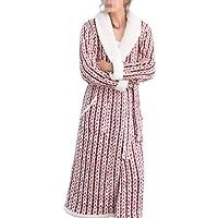 Bata Suave Suave para Mujer Pijamas Impreso Coral Fleece Bata De Invierno Batas De Baño Largo