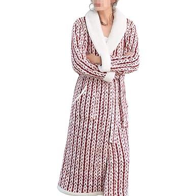 Bata Suave Suave para Mujer Pijamas Impreso Coral Fleece Bata De Invierno Batas De Baño Largo Y Grueso Collar De Mantón Ropa De Dormir: Amazon.es: Ropa y ...