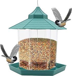 GGHKDD Squirrel Proof Bird Feeder, Wild Bird Feeder, Gazebo Bird Feeder and Garden Decoration for Bird Watchers&Children