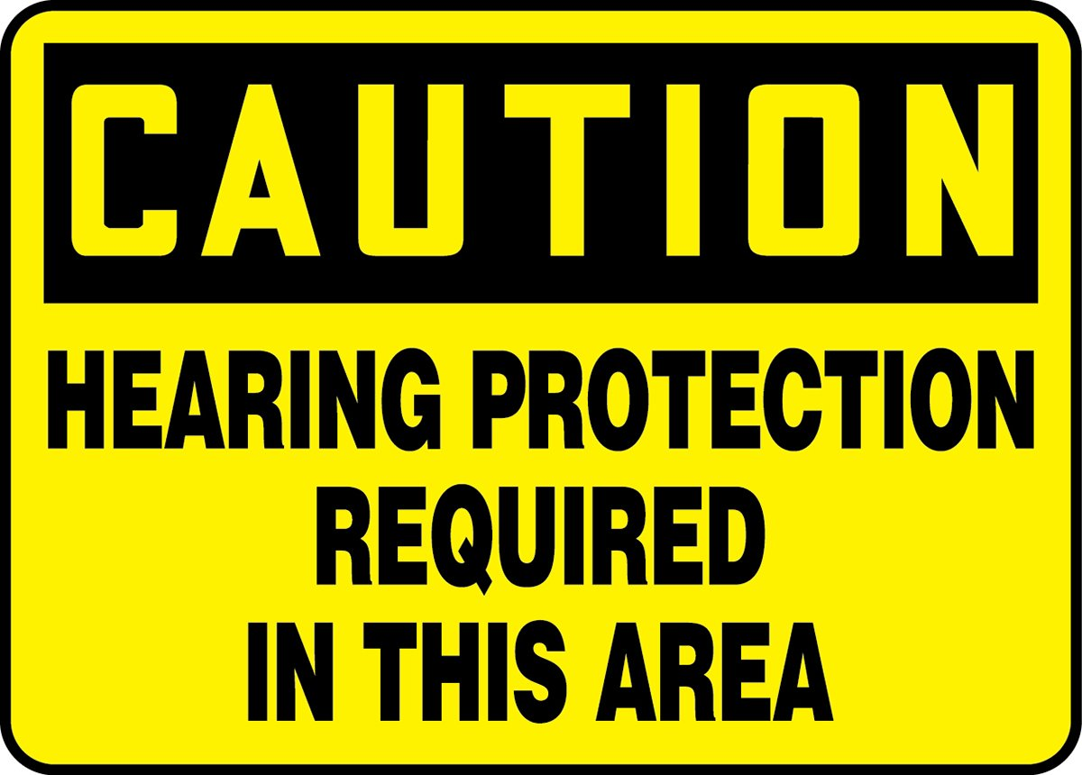 Accuform MPPE675VS Adhesive Vinyl Safety Sign, Legend''CAUTION HEARING PROTECTION REQUIRED IN THIS AREA'', 7'' Length x 10'' Width x 0.004'' Thickness, Black on Yellow
