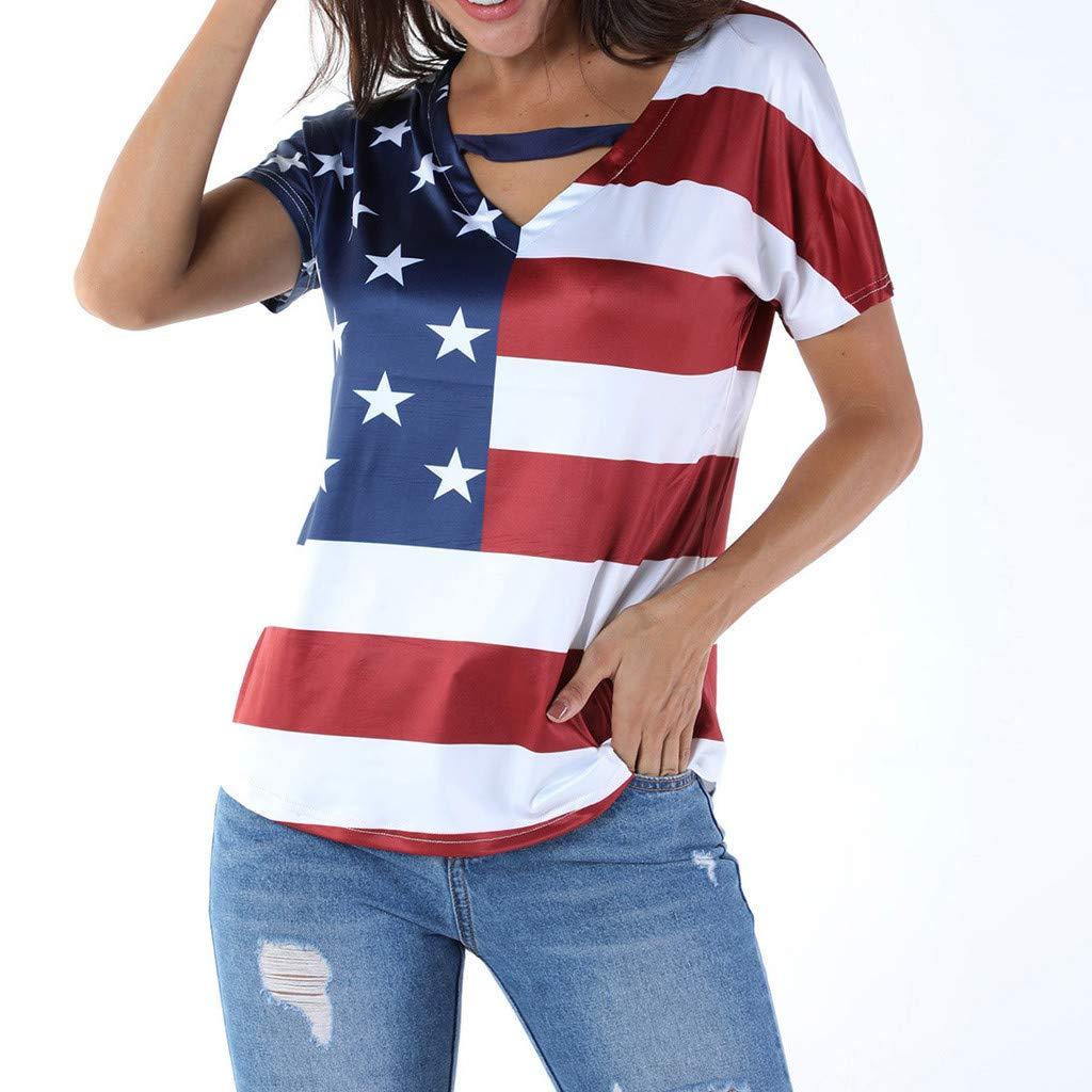 Seamount Womens Plus Size V-Neck Thong Star Stripe Print USA Flag America T-Shirt Top Blouse Red