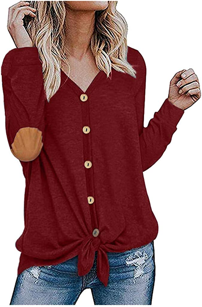 Fammison Womens Waffle Knit Tunic Blouse Tie Knot Tops Loose Fitting Bat Wing Plain Button Shirts