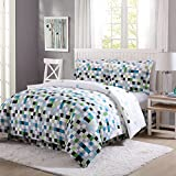 8 Piece Elasticize Bright Pixel Checker Patterned Sheet Set Full Size, Featuring Printed Geometric Tiny Squares Fashionable Vibrant Pixels Bedding, Whimsical Modern Geo Style Bed In A Bag, Multicolor