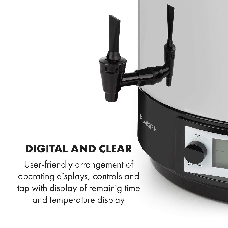 KLARSTEIN KonfiStar 40 Digital Funzione di Mantenimento Calore Pastorizzatore Timer 2500 Watt 30-100 /°C Distributore Bevande Acciaio Inox Lucido Coperchio con Chiusura 40 Litri