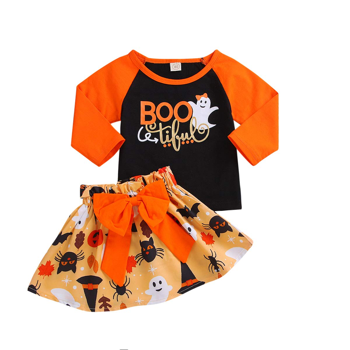 1-5T Halloween Costumes Little Girl Long Sleeve Sweatshirt + Bowknot Skirt Set Baby Girl Fall Outfits My First Halloween