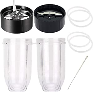 MB1001 Ice Shaver Blade and Flat Blade for Magic Bullet Replacement Parts 250 Watts, 16OZ Cup for Magic Bullet Blender Juicer Accessories with Gasket and Cleaning Brush