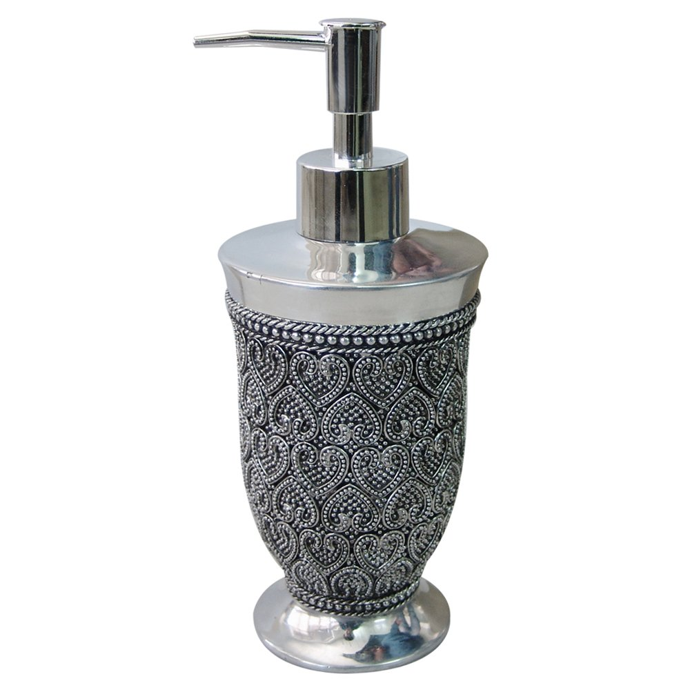 nu steel BHT6H Beaded Heart Lotion Dispenser with Metal Pump, Refillable Bottle, Ideal for Liquid Soaps, Shiny Finish, Small, Chrome
