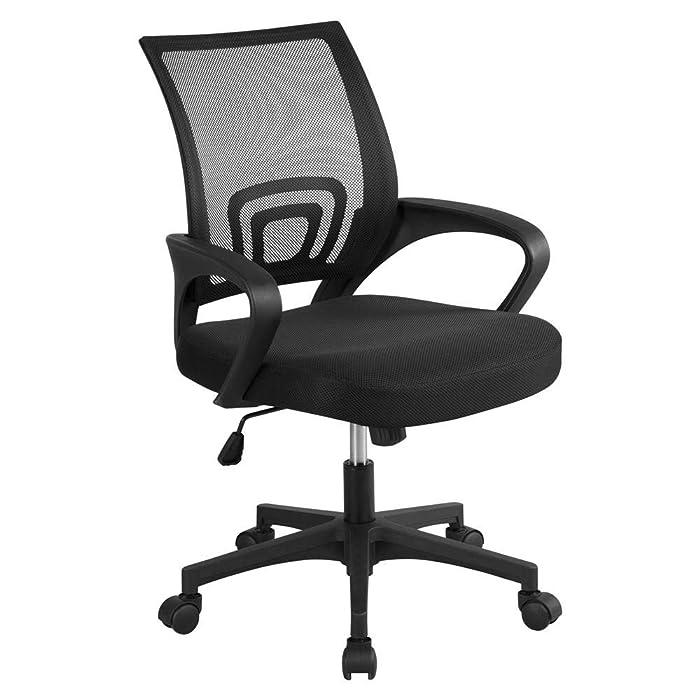 Yaheetech Office Chair Ergonomic Computer Chair Mid Back Mesh Desk Chair Lumbar Support Modern Executive Adjustable Stool Rolling Swivel Chair, Black