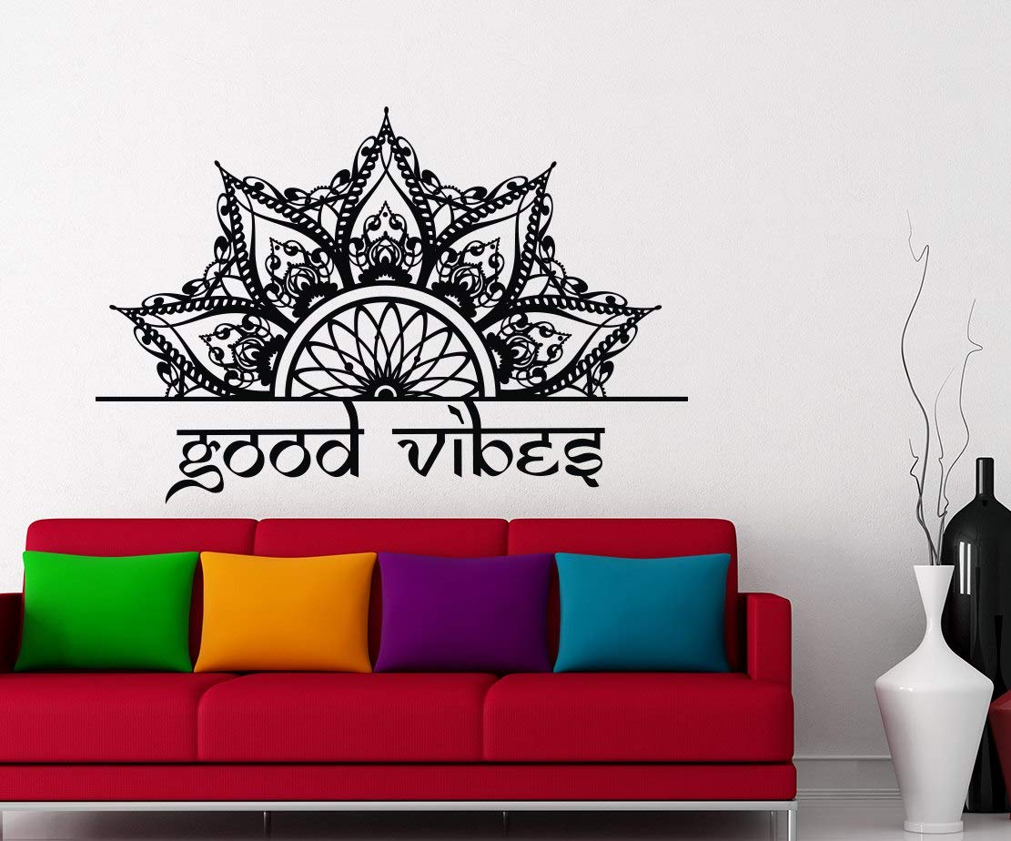 MANDALA DECORATE THE BEDS Wall Vinyl Decals Good Vibes Quote Sticker Lotus Decal Indian Boho Decor For Home Bedroom FD138