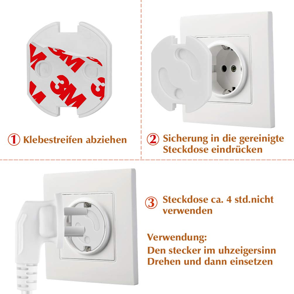 Kindersicherung Steckdose Wei/ß Drehmechanik Steckdosenschutz Steckdosensicherung Baby Kleinkinder 12 St/ück