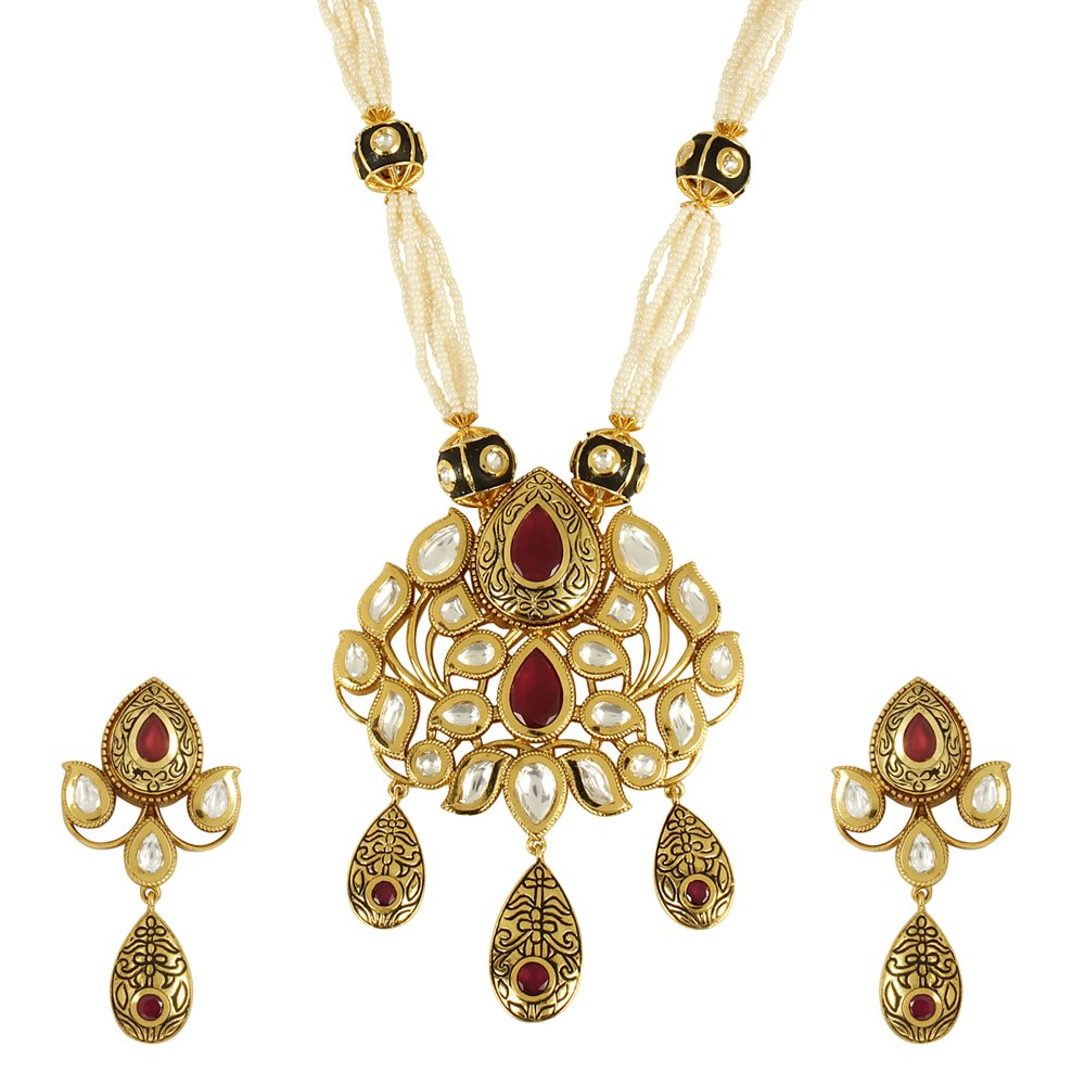 MUCH-MORE Gorgeous Gold Tone Ruby /& Dropping Pearl Kundan Necklace Set Partywear Jewelry for Womens
