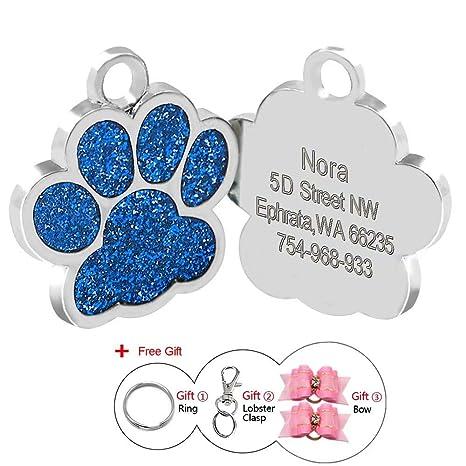 Placas de identificación Berry de huellas personalizadas en acero inoxidable de 24 mm para perros y