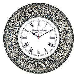 DecorShore 22.5 Mosaic Wall Clock, Decorative Round Wall Clock (Fired Silver)