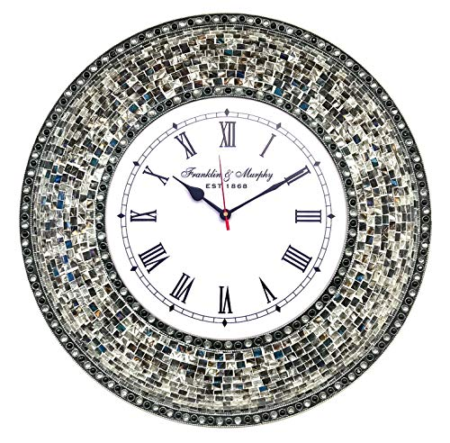 DecorShore 22.5 Mosaic Wall Clock, Decorative Round Wall Clock Fired Silver