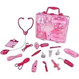 Valigetta da Dottore Medico Kit con Accessori Gioco di Ruolo Bambini Rosa Giocattoli Bambino 3 Anni, 16 Pezzi