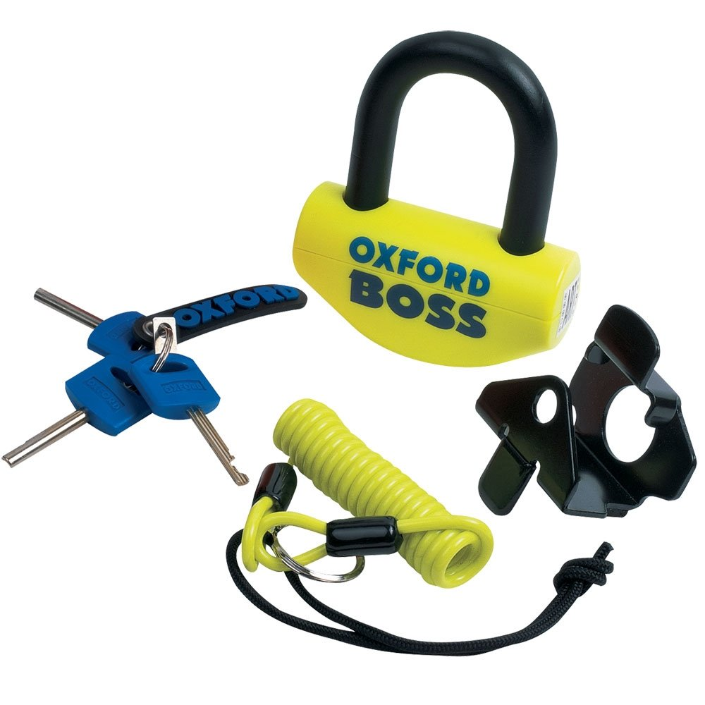 Oxford Boss 14mm Yellow SRA aprvd: Motorbike Motorcycle Disc Lock Padlock