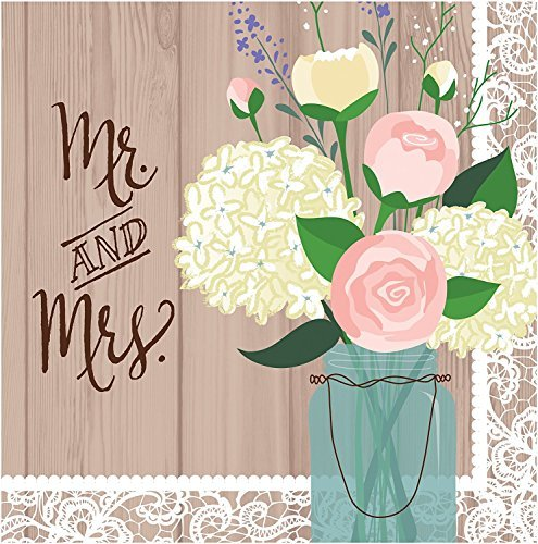 Creative Converting 2-Ply Lunch Napkins, Mr. and Mrs. Rustic Wedding (Value Pack: 48 Count) -