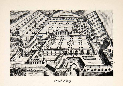 1950-print-orval-cistercian-religious-monastery-belgium-aerial-view-art-religion-original-halftone-p