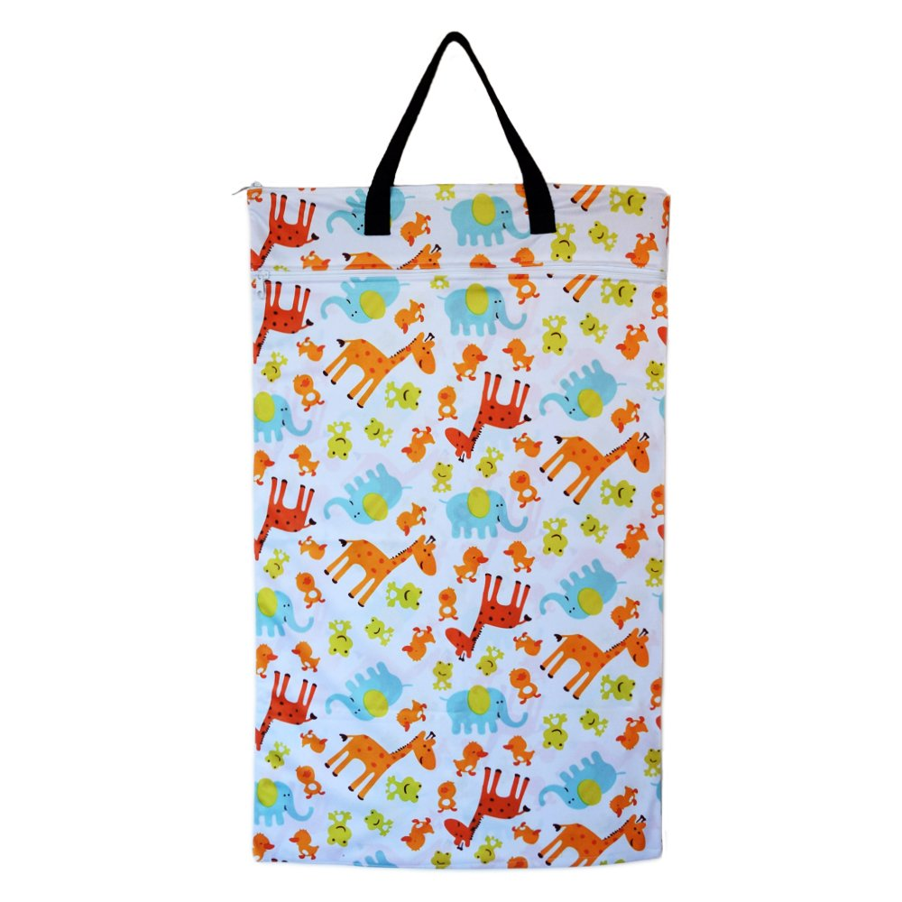 Large Hanging Wet Dry Bag for Baby Cloth Diapers or Laundry (Zoo)