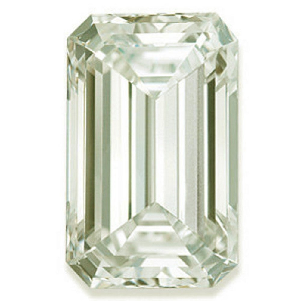 RINGJEWEL 6.01 ct VS1 Emerald Cut Real Loose Moissanite Use 4 Pendant/Ring Off White Light Green Color