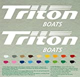 Set of two of Triton Outboards Decals Vinyl Stickers Boat Outboard Motor Lot of 2 (12 inch, White 010)