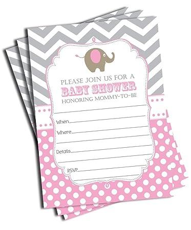 Amazon Com 50 Girl Elephant Baby Shower Invitations And Envelopes