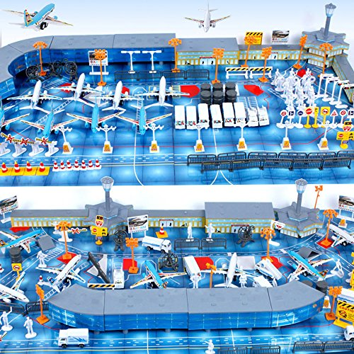 Cp-Tree International Airport Assembled Toy 8 Planes 8 Vehicles 200 Pieces Aircraft Model Playset Simulated ()