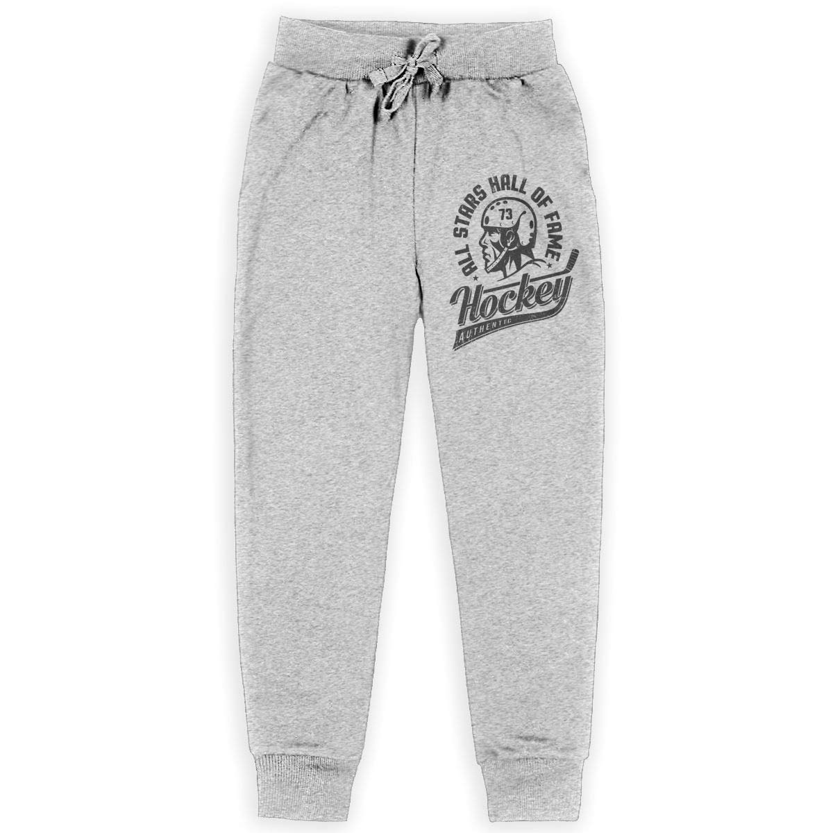 Boys Fashion Jogger Sweatpants Hockey Player in Helmet Logo Adjustable Waist Running Pants with Pocket