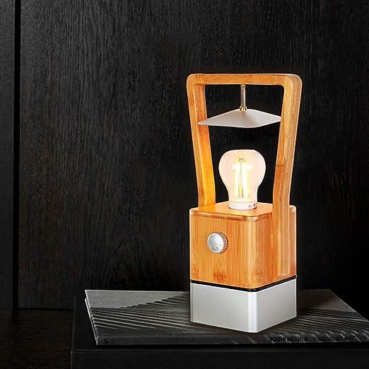 ZMH Lámpara de Mesa LED De Madera 4w 2200k Blanca Cálida Lámpara de Mesa Regulable Lámpara de Camping Con Luz De Emergencia Led Lámpara de Escritorio ...